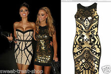 TOPSHOP BLACK GOLD FOIL PRINTED BODYCON WIGLE PENCIL FIGURE HUGGING PARTY DRESS