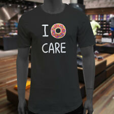 I DONUT CARE FOOD HUMOR FUNNY FOODIE NERD GEEK Mens Black Extended Long T-Shirt