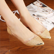 Any Size Womens Shiny Ballet Flats Ballerina Casual Slip On Shoes Faux Leather