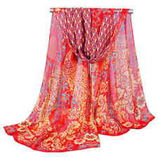 New Womens Peacock Pattern Red Yellow Scarf Floral Chiffon Summer Shawl Scarves
