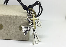 Men Necklac Alloy Leather Pendant Necklace Cross Tooth Feather  Cord Adjustable