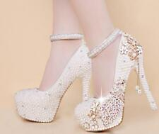 Sweet Womens Shiny Wedding Bridal Pearls Crystal High stiletto Heels Shoes Pumps