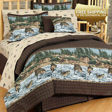 RIVER FISHING Lodge Cabin Deluxe Bedding Set (Twin, Regular, Queen, King)