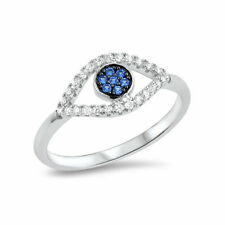 Evil Eye Ring Simulated Blue Sapphire Round CZ 925 Sterling Silver