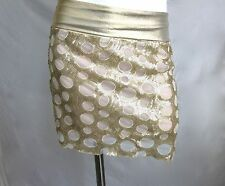 New Women S Gold Sequin Mini Skirt Cocktail Party Fold Over Waist Lined Lace NWT