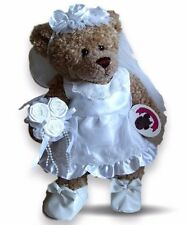Teddy Bear Clothes fit Build a Bear Wedding Bride Flower Girl Dress Veil Flowers