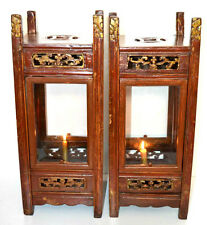 Pair of Antique Chinese Carved Wooden Glazed Table Lanterns Early 20C [PL3275]