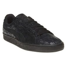 New Womens Puma Black Suede Remaster Leather Trainers Retro Lace Up