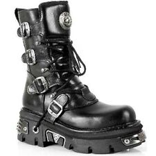 New Rock black 373-S4 Metallic Boots Shoes Real leather Goth Punk Skirt