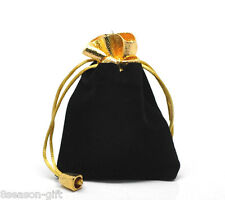 Wholesale Lots HX Black Velvet Drawstring Pouches Jewelry Gift Bags 12cmx9cm