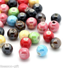 """Wholesale Lots HX Ceramic Charm Spacer Beads Round Mixed 6mm( 2/8"""")"""