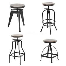 Vintage Bar Stools Industrial Height Adjustable Kitchen Dining Breakfast R5O7