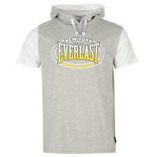 MENS GREY MARL EVERLAST BOXING GYM MOCK SHORT SLEEVE HOODIE HOODY SWEATSHIRT TOP