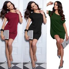 Fashion Womens Short Sleeve Casual Off One Shoulder Mini Tunic Dress Top Summer