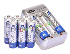 8x AA 3000mAh 1.2V Ni-MH rechargeable battery BTY for MP3 RC Toys Camera+Charger