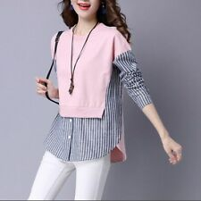 Spring Women Long Sleeve Fashion Striped False Two Pieces Shirt Tops Korean Tees