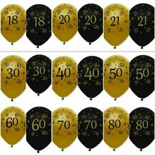 """6 x 12""""  Black & Gold - LATEX BALLOONS (Birthday Party Decorations/Age/Number)"""