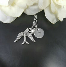 Silver Swallow Bird Necklace, Flying Wings Charm Necklace, Personalize letter