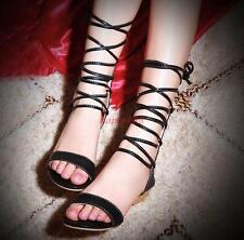 Womens gladiator Strappy Causal Open Toe Lace Up Shoes Low wedge Heel Sandals sz