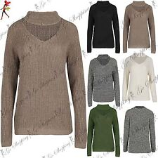 Womens Ladies Oversized Long Sleeve Cuffed Choker V Neck Chunky Knitted Jumper