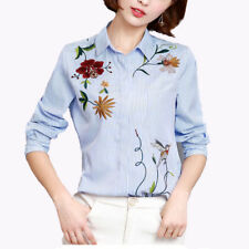 Blue Stripe Womens Embroidered patch shirt Blouse Long Sleeve Flower Rose Tops