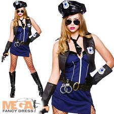 Sexy Police Officer + Hat Ladies Fancy Dress Naughty Cop Womens Costume Outfit