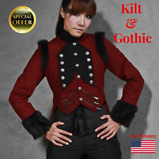 New Womens Military Coat Ladies Jacket Red Black Tailcoat Gothic VTG Steampunk