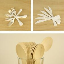 PREMIUM DISPOSABLE CUTLERY - PLASTIC ECO WOODEN Forks Knifes Spoons - HEAVY DUTY