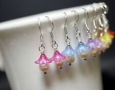 Sterling Silver Freshwater Pearl Earrings - Tiny Flower Dangle Earrings Rose Qua