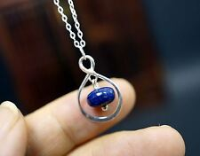 Infinity Lapis Lazuli Necklace Tiny Sterling Silver Lapis Pendant