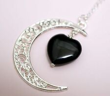 Black Onyx Necklace - Black Stone Heart  Crescent  Moon Pendant