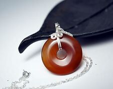 Silver Wrapped Carnelian Donut Necklace - Red Carnelian Necklace - Gift For Her
