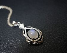 Sterling Silver Rainbow Moonstone Necklace, Luxury Moonstone Jewelry Moonstone P