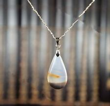 Teardrop Agate Necklace - Tiny Silver Necklace - Black and White Agate Necklace