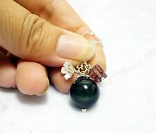 Obsidian Necklace - Sterling Silver Natural Rainbow ObsidianTassel Necklace - Ti
