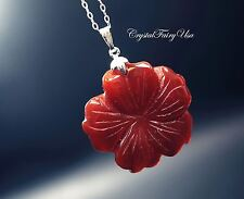 Genuine Agate Flower Necklace, Sterling Silver Crystal Healing Jewelry, Red Carn