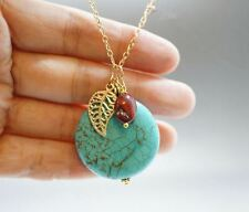 Turquoise Necklace Gold Leaf Necklace