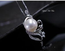 Pearl Necklace, Large Pearl Pendant, full Sterling Silver Genuine Freshwater Pea