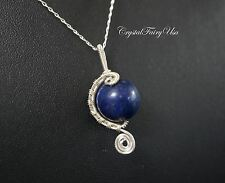 Sterling Silver Lapis Necklace - Wire Wrapped Lapis Pendant - Lapis Jewelry - Wi