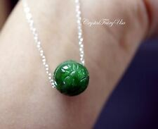 Emerald Jade Necklace - Sterling Silver Green Jade Necklace - Jade Choker