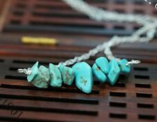 Turquoise Necklace in Sterling Silver Turquoise Chips Bar Choker Turquoise Earri