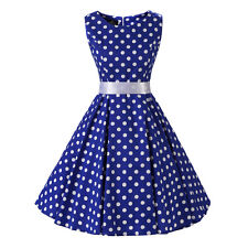 Blue White Polka Dot Sleeveless 1950s 60s Vintage Swing Rockabilly Party Dress