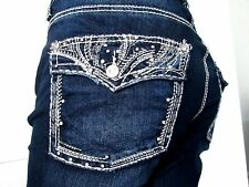 MAURICES Jeans PLUS SIZE 24 RHINESTONE Embellished Capri Cropped Jeans