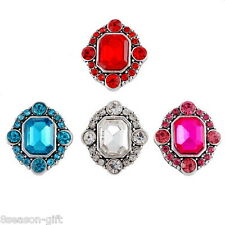 Wholesale Lots HX Snap Buttons Crystal Jewelry DIY Tibetan Rhombus For Necklace