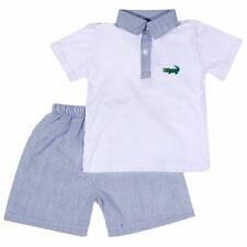Boys Alligator Emblem Blue Seersucker Short Set Infant Toddler Kids NWT Babeeni