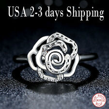 S925 Sterling Silver Women's Beautiful Ring with CZ Flower Rose Size 4 and 4.5