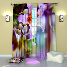 """Pink Lilac Floral Window Curtains Panel (Set of 2), Polyester, 84"""""""