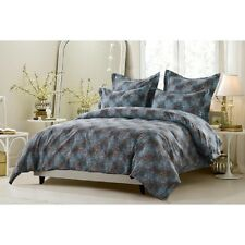 King / CKing Full / Queen Blue Brown White Leaf Duvet Set 5 Piece Cover 4 Shams