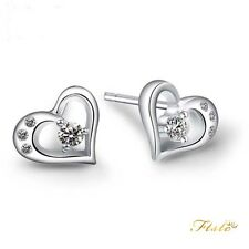Heart Stud Earrings Sarulo 925 Solid Sterling Silver New Fashion Jewelry Gift CZ