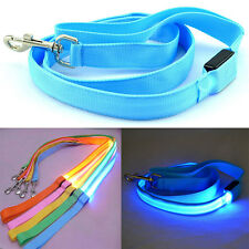 New LED Light Up Dog Pet Night Safety Bright Flashing Adjustable Nylon Leash